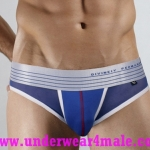 Divineiy Permanent Men Underwear Holiday See-Through Brief (Blue)