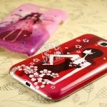 เคส Note 2 Case Samsung Galaxy Note 2 II N7100 เคสลายผู้หญิงอาร์ตๆ ประดับตกแต่งด้วยเพชรคริสตัลสี สวยๆ น่ารักๆ Illustrator girl diamond shell mobile phone sets