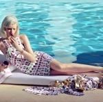 เดรสไหล่เฉียง แพทเทิร์น Vesrsace cruise for H&M สีม่วง