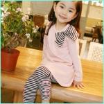 ชุดเสื้อ-กางเกงเกาหลีแต่งโบว์ สีชมพู แพค5ชุด ไซส์90-130