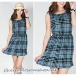 Simply Blue Scott Dress เดรสผ้าคอตต้อนวูลลายสก็อตสีฟ้า