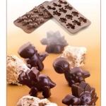 พิมพ์ซิลิโคนทำขนม รูปไดโนหลากหลายพันธุ์ มีทั้งหมด 4 แบบ ใน 1 พิมพ์