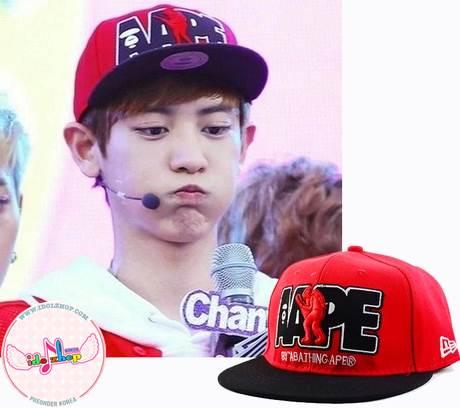 หมวกแฟชั่น EXO-AAPE CHANYEOL (สีแดง)