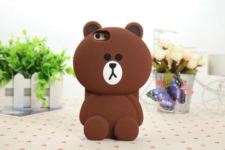 เคสซิลิโคนเคสหมีบราวน์ 3D ไอโฟน 4/4s