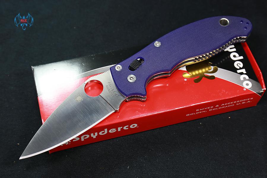 Spyderco Manix2- S110V Satin Plain Blade, Blue/Purple G10 Handles
