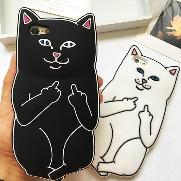 เคสซิลิโคน 3D แมว ไอโฟน 4/4s