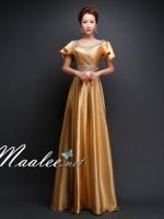 พร้อมเช่า สำหรับสาวไซส์ใหญ่ ชุดราตรียาว แบบแขนสั้น ผ้าซาตินสวยสง่า อกจับจีบปักเลื่อมช่วงอก-เอว สีทอง (เชือกผูกหลัง)