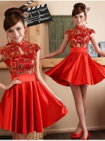 ชุดกี่เพ้า ชุดจีน ชุดแฟนซี สีแดง กระโปรงผ้าซาติน เช่า 400