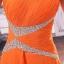 พร้อมเช่า ชุดราตรียาว ไหล่เดียว สีส้ม Tangerine แต่งคริสตัล ปักเลื่อมเก๋รูปตัว V ทิ้งชายระบายด้านหน้า thumbnail 5