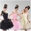 พร้อมเช่า ชุดแฟนซี ชุดราตรีสั้น กระโปรงระบาย ผ้าแก้ว แต่งดอกไม้สวยหวาน สีดำ (เชือกผูกหลัง) thumbnail 2