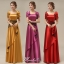 พร้อมเช่า ชุดราตรียาว สีแดง ปิดไหล่ แต่งดอกกุหลาบจับจีบสวย ผ้าซาติน (L-5XL) thumbnail 9