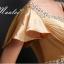 พร้อมเช่า สำหรับสาวไซส์ใหญ่ ชุดราตรียาว แบบแขนสั้น ผ้าซาตินสวยสง่า อกจับจีบปักเลื่อมช่วงอก-เอว สีทอง (เชือกผูกหลัง) thumbnail 7