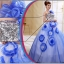 พร้อมเช่า ชุดแฟนซี ชุดราตรียาว สีน้ำเงิน ช่วงอกปักเลื่อม กระโปรงแต่งผ้าโปรงดอกไม้ thumbnail 5