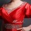 พร้อมเช่า สำหรับสาวไซส์ใหญ่ ชุดราตรียาว แบบแขนสั้น ผ้าซาตินสวยสง่า อกจับจีบปักเลื่อมช่วงอก-เอว สีแดง (เชือกผูกหลัง) thumbnail 8