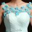 พร้อมเช่า ชุดแฟนซี ชุดราตรีสั้น แขนกุด กระโปรงผ้าแก้วย้วยพองฟู น่ารักมาก แต่งดอกไม้ช่วงอก สีฟ้า thumbnail 7
