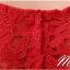 พร้อมส่ง ชุดราตรีสั้น สีแดง แขนกุด ลูกไม้ฉลุ กระโปรงผ้าชีฟอง thumbnail 6
