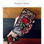 เคส Vivo V9 tpu ลูกไม้ปักดอกกุหลาบพร้อมสายคล้อง 2 สั้น/ยาว(ใช้ภาพรุ่นอื่นแทน)-สีดำ