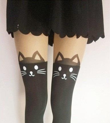 [พร้อมส่ง] P1259 ถุงน่องสไตล์ญี่ปุ่น ลายแมว Cat Sock (ไม่มีหางด้านหลัง) ถุงน่องแมว