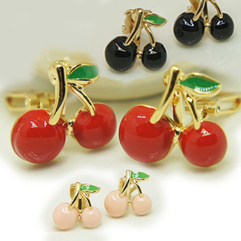 [พร้อมส่ง] E7315 ต่างหูหนีบ เชอรี่ สวยหวานน่ารักสุดๆ Sweet Cherry