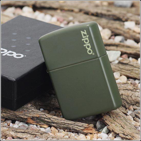 """ไฟแช็ค Zippo แท้ """" Zippo 221ZL Logo Green Matte Finish Lighter """" แท้นำเข้า 100%"""