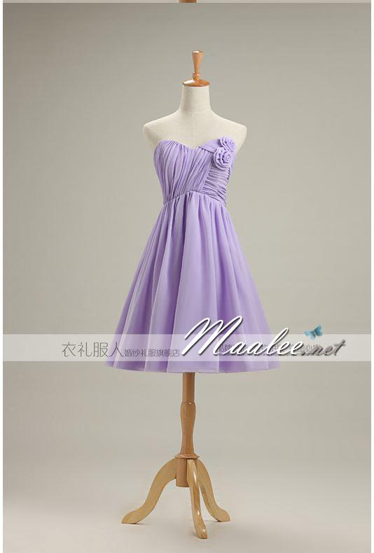 พร้อมเช่า ชุดราตรีสั้น ชุดเพื่อนเจ้าสาว สีม่วงอ่อน Lavender Lv-001C