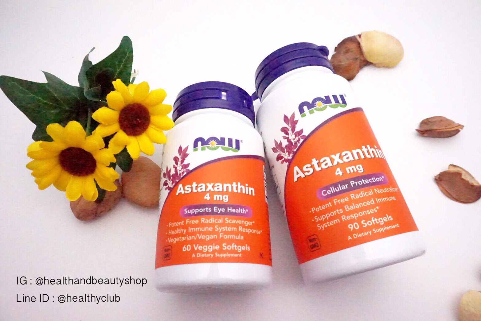 # ผิวสวย # Now Foods, Astaxanthin, 4 mg, 60 Veggie Softgels