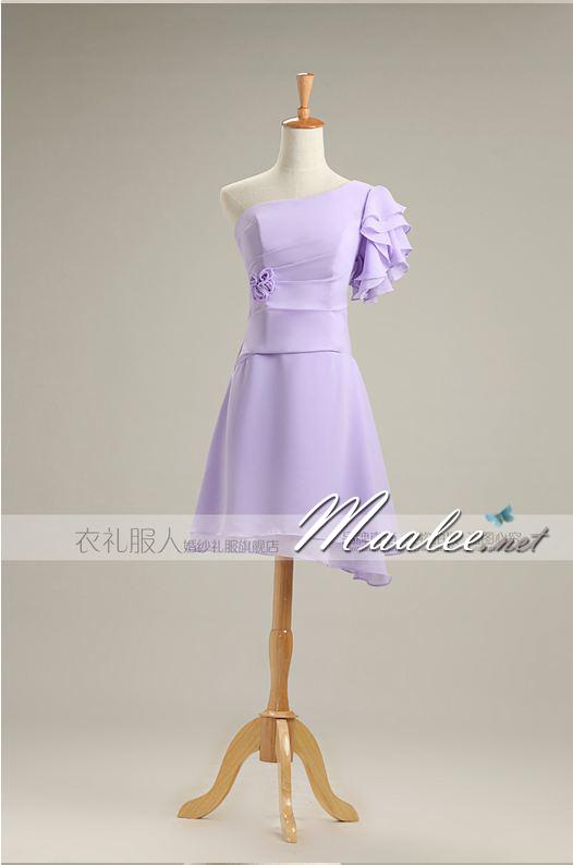 พร้อมเช่า ชุดราตรีสั้น ชุดเพื่อนเจ้าสาว สีม่วงอ่อน Lavender Lv-001F