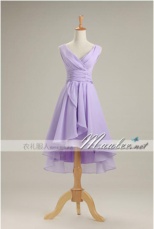 พร้อมเช่า ชุดราตรีสั้น ชุดเพื่อนเจ้าสาว สีม่วงอ่อน Lavender Lv-001A