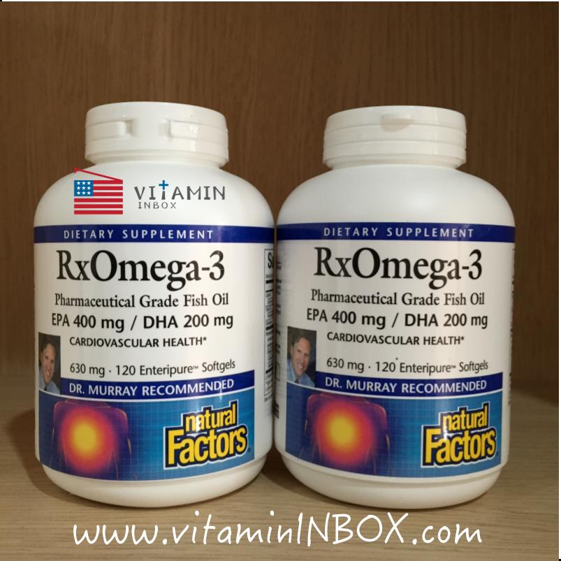 Natural Factors, RxOmega-3 Factors, EPA 400 mg / DHA 200 mg, 120 Softgels