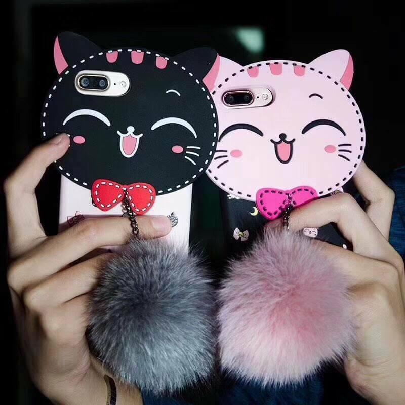 ไอโฟน5/5se/5s เคสtpuแมวดำห้อยขนเฟอร์(ใช้ภาพรุ่นอื่นแทน)