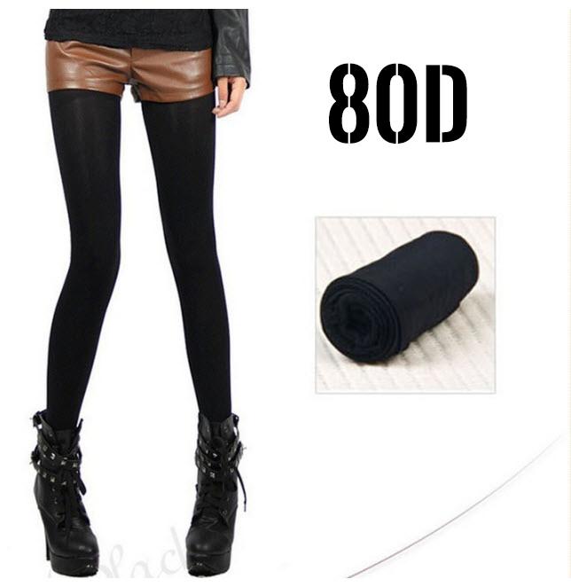 [พร้อมส่ง] P3950 ถุงน่องสีดำ แบบเต็มตัว ความหนา 80D