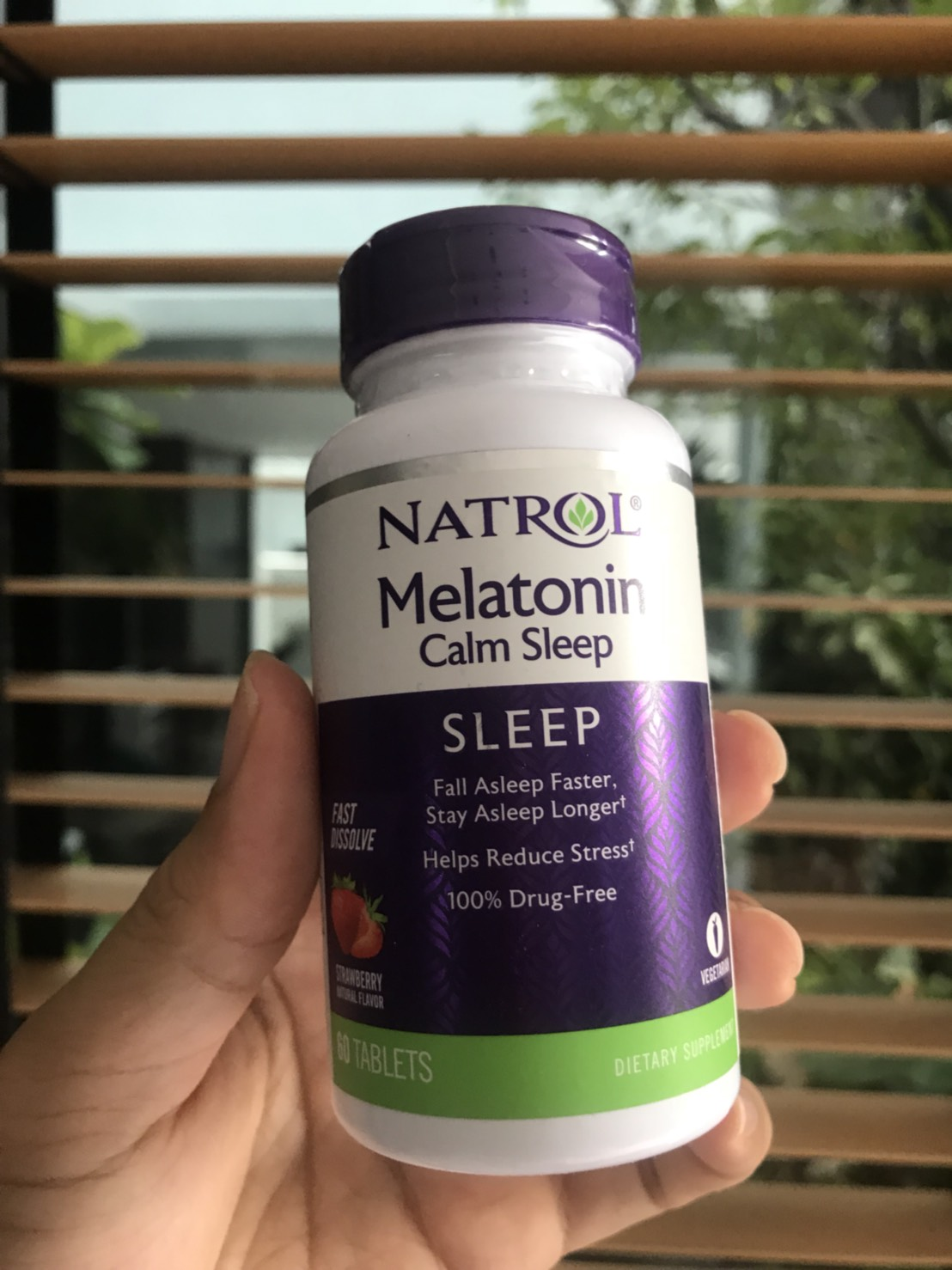 # 6mg # Natrol, Advanced Melatonin Calm Sleep, Fast Dissolve, Strawberry Flavor, 60 Tablets