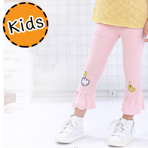 [ไซส์เด็ก] K7849 กางเกงเลกกิ้งเด็ก ขาระบาย ปักลายลูกเจี๊ยบสุดน่ารัก