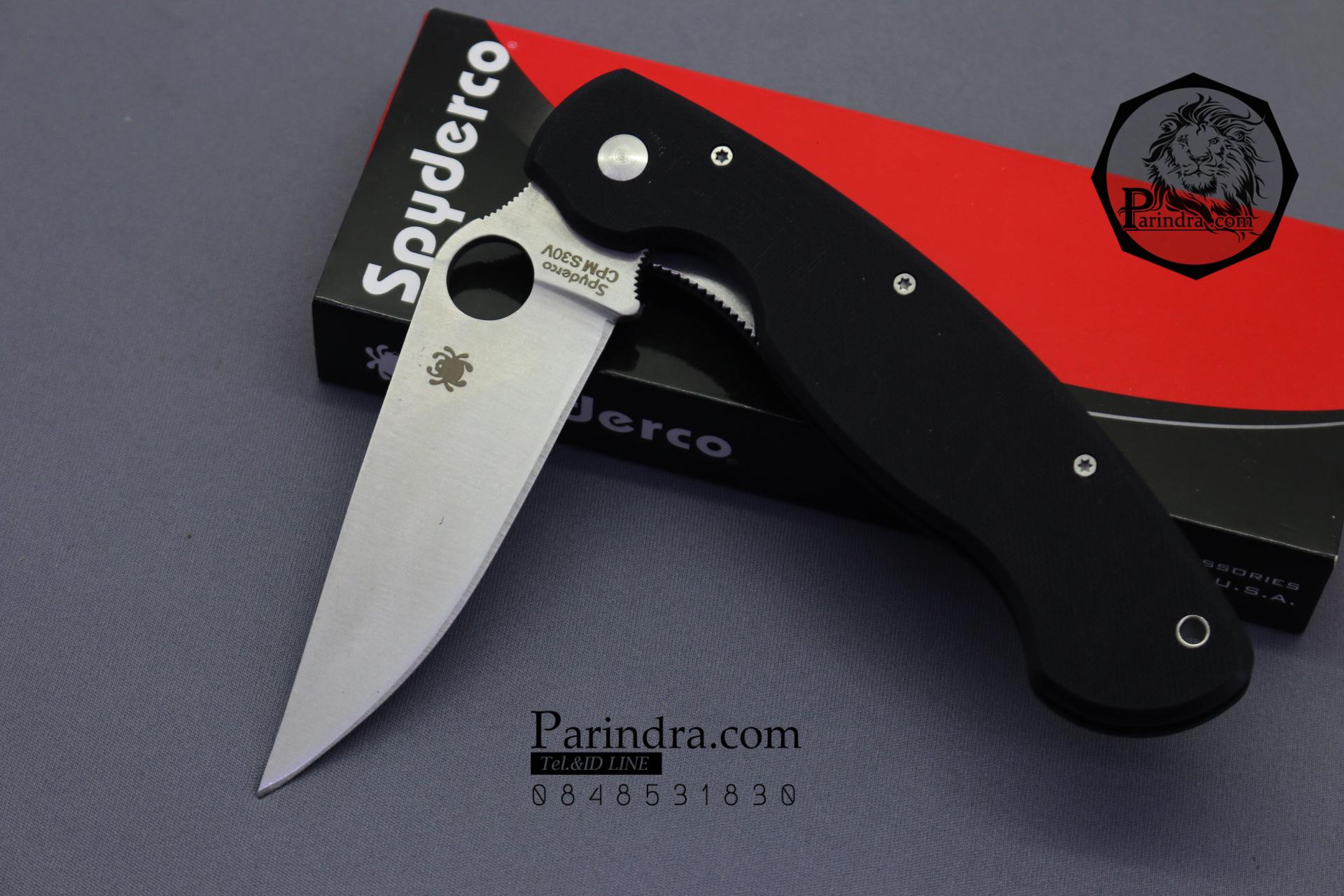 มีดพับ Spyderco ด้าม G10 สีดำสนิท คมกริบ ขนาด 9.5 นิ้ว (OEM) A++