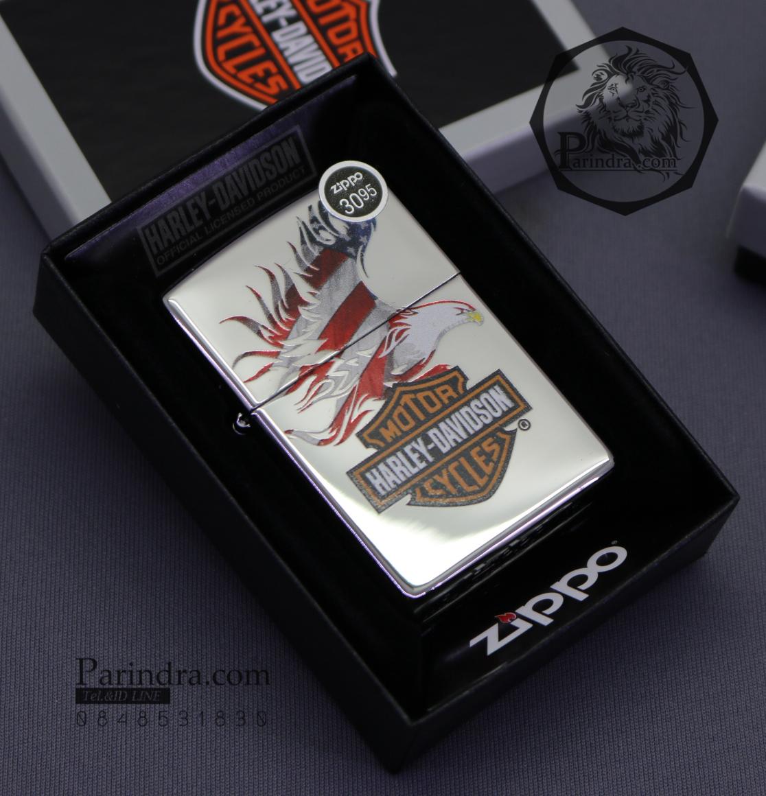 """ไฟแช็ค Zippo แท้ """"Harley Davidson"""" #Zippo 28082, Harley Davidson-Logo, High Polish Chrome แท้นำเข้า 100%"""
