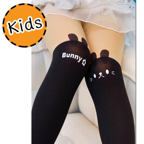 [ไซส์เด็ก] K5868 ถุงน่องเด็ก แบบสีดำครึ่งขา ลายกระต่ายน้อย Little Bunny