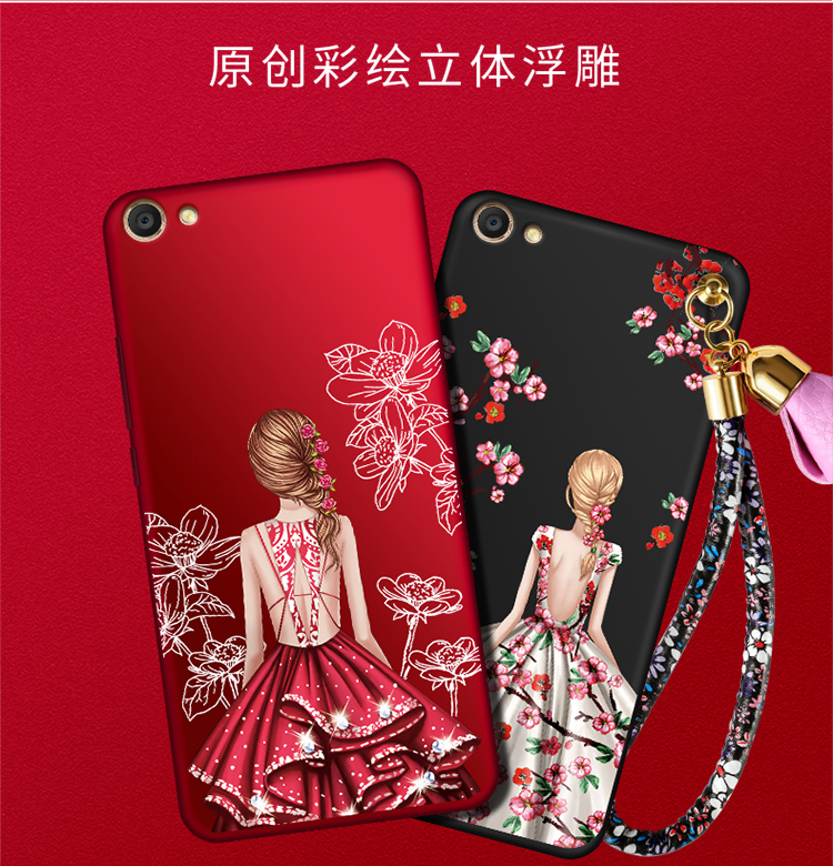 เคส VIVO Y71 ซิลิโคนแบบนิ่ม สกรีนลายผู้หญิงและดอกไม้ สวยงามมากพร้อมสายคล้องมือ ราคาถูก (ไม่รวมแหวน)