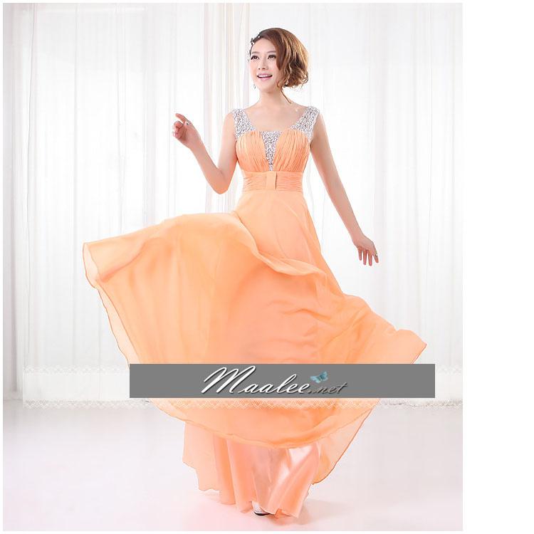 พร้อมเช่า ชุดราตรียาว สีส้ม ปักเลื่อมช่วงอก แบบเปรี้ยวอมหวาน