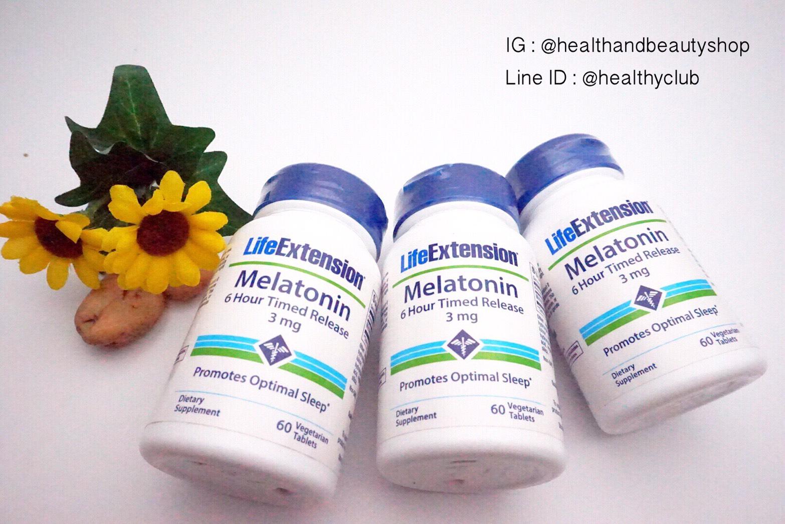 # แบรนด์ Hi # Life Extension, Melatonin, 6 Hour Timed Release, 3 mg, 60 Veggie Tabs