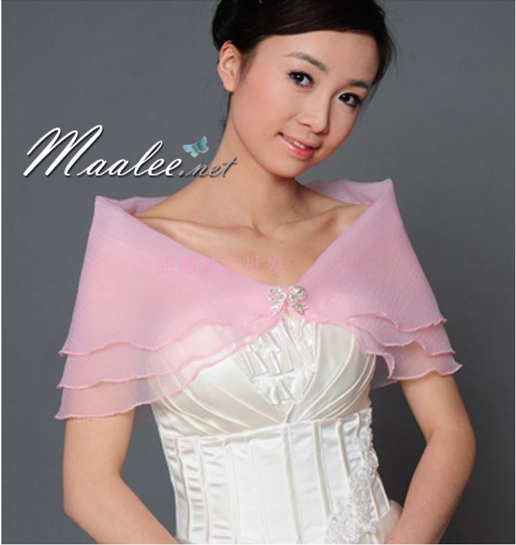 เสื้อคลุมชุดราตรี ผ้าแก้วออกันซ่า สีชมพู พร้อมตะขอเพชรรูปโบว์