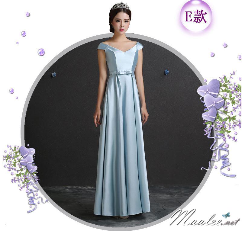พร้อมเช่า ชุดราตรียาว ชุดเพื่อนเจ้าสาว สีฟ้า แบบ E ไหล่ปาด ผ้าซาติน มีโบว์ช่วงเอว (เชือกผูกด้านหลัง)