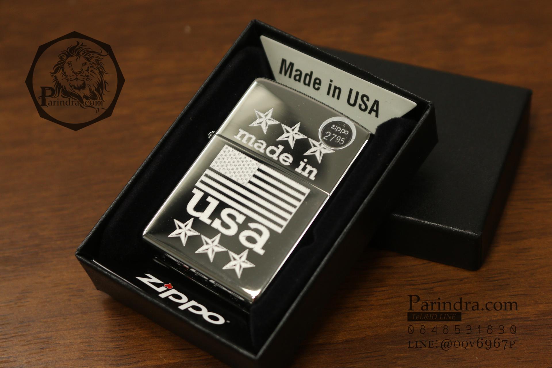 """ไฟแช็คซิปโป้แท้ """" Zippo 29430 Made in USA with Flag High Polish Chrome """" แท้นำเข้า 100%"""