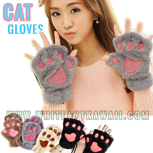 [พร้อมส่ง] G6630 ถุงมือกันหนาว เท้าแมว สุดคิ๊วท์ แบบนิ้วโผล่มากดมือถือกันชิวๆจ้า