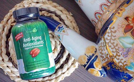 # ผิวไม่เหี่ยวแห้ง # Irwin Naturals, Anti-Aging Antioxidants, 60 Liquid Soft-Gels