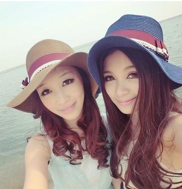 [พร้อมส่ง] H5441 หมวกสานปีกกว้าง ตกแต่งด้วยริบบิ้นผ้าและลูกไม้ เย็บเป็นโบ งานน่ารัก สไตล์เกาหลี Korean Style
