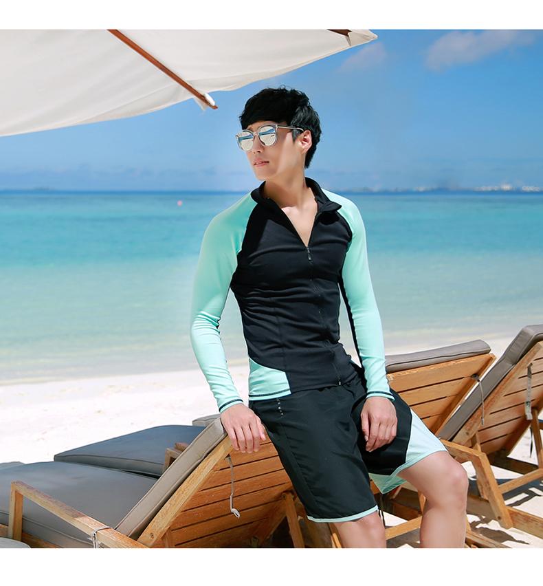 [พร้อมส่ง] SW8339 ชุดว่ายน้ำชาย แบบชุดเซ็ต 3 ชิ้น (เสื้อแจ็คเก็ต+กางเกงขายาว+กางเกงขาสั้น)