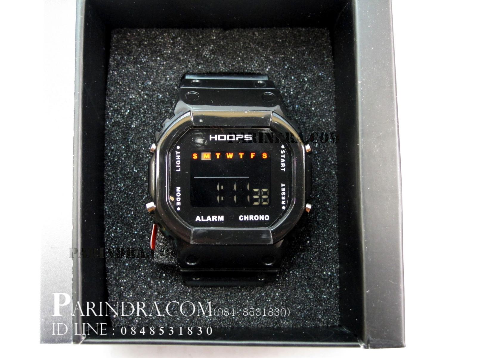 นาฬิกา Hoops ระบบดิจิตอลสีดำใส