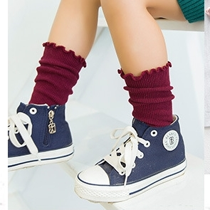 [ไซส์เด็ก] K8190 ถุงเท้ายาว ขอบหยัก สไตล์สาวน้อยเกาหลี