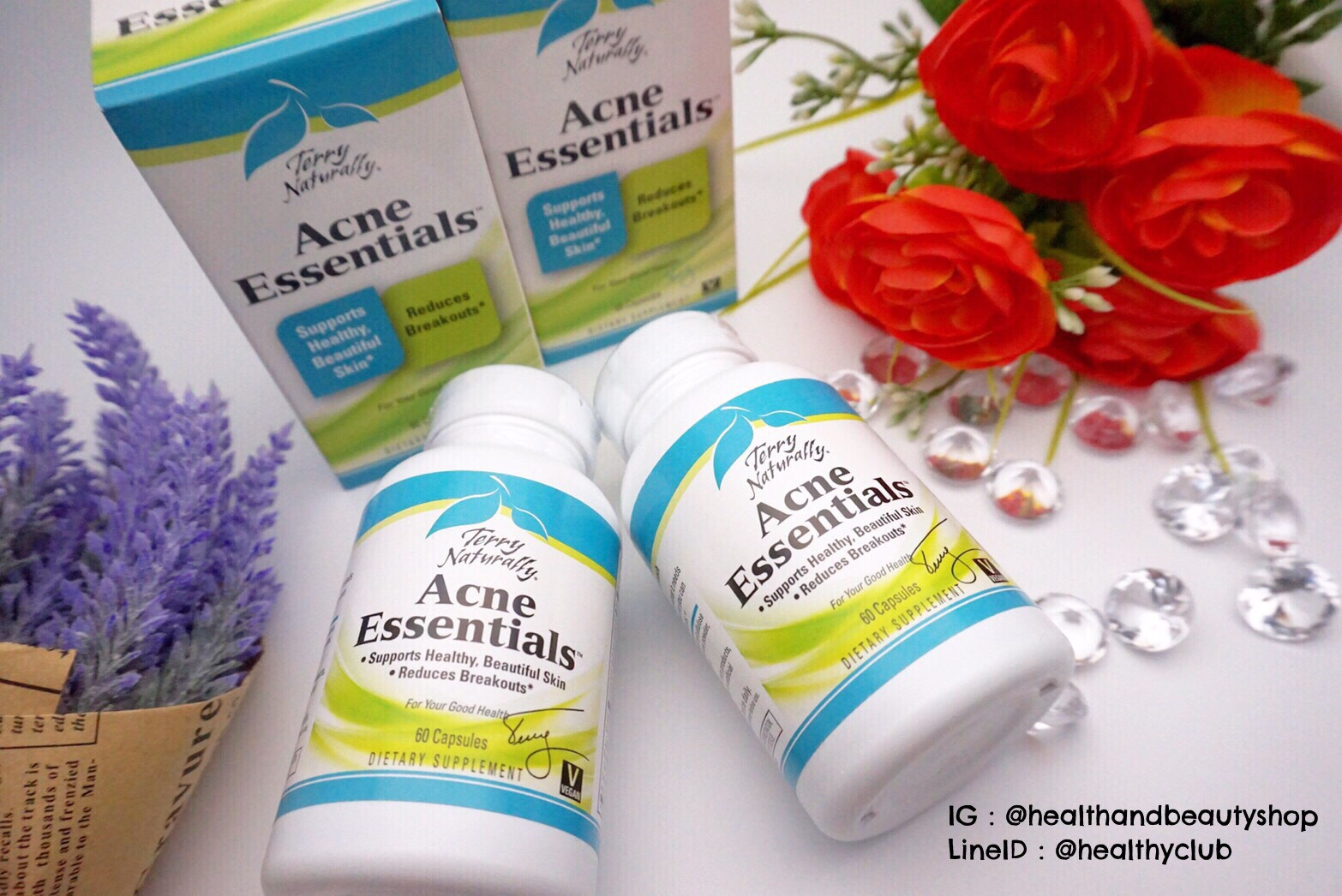 # สิวเรื้อรัง # EuroPharma, Terry Naturally, Acne Essentials, 60 Capsules
