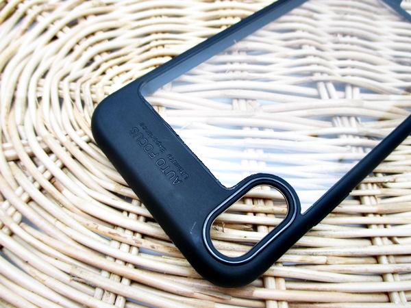 Iphone X เคสหลังแข็งบางขอบสีทึบ
